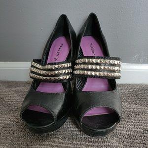 NWOB Madden Girl Studded Black Peep Toe Shoes 7
